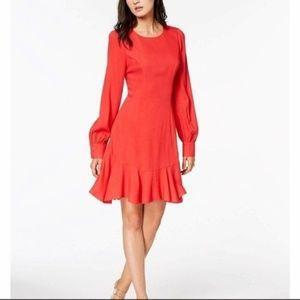NWT Bar III Ruffle-Hem Fit Flare Dress Red